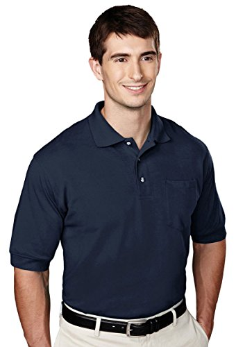 Tri Mountain Mens Big And Tall Golf Shirt With Pocket  Navy  Large