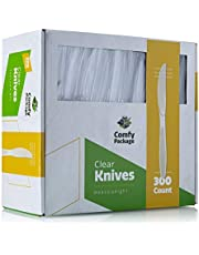 [300 Pack] Heavyweight Crystal Clear Plastic Forks Spoons Teaspoons Knives