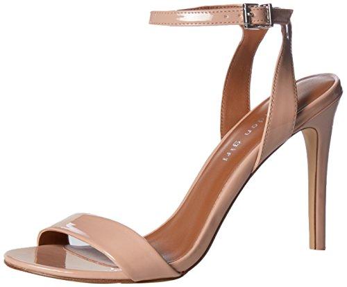 Madden Girl Women's Londonn Heeled Sandal, Nude Patent, 7.5 M US