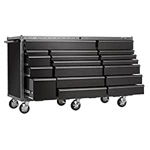 Viper Tool Storage Armor Series VV7218BLT 72-Inch 18-Drawer Rolling Tool Cabinet, Black w/ Rivet Trim