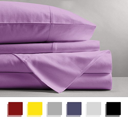 Mayfair Linen 100% EGYPTIAN COTTON Sheets, LILAC QUEEN Sheets Set, 800 THREAD COUNT Long Staple Cotton, SATEEN Weave for Soft and Silky Feel, Fits Mattress upto 18'' DEEP - Cotton 100% Set