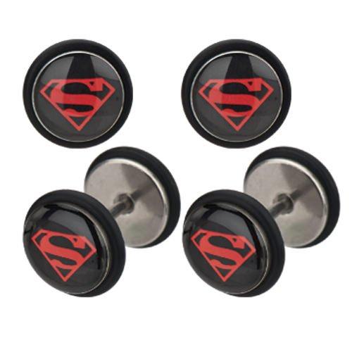 DC Comics Superman Logo Stainless Steel Fake Plug Earrings