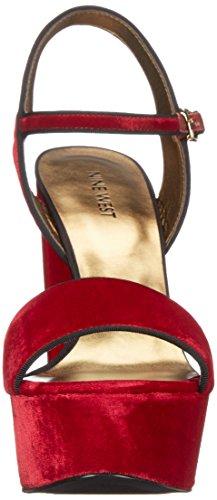Nine West Clavel Tela sandalia de la plataforma Red Velvet