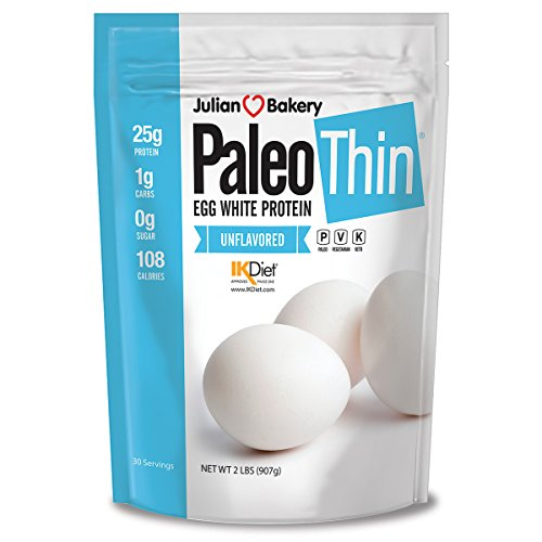 Paleo Thin Protein Egg White Powder (2 LBS Total)(Soy Free)(30 Servings Total) (GMO Free) (Unflavored) (Best Homemade Protein Shakes For Building Muscle)