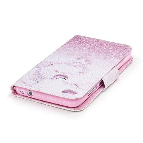 Lederhülle für Huawei P8 lite 2017,Huawei P8 lite 2017 Hülle,Huawei P8 lite 2017 Schutzhülle,Hpory Elegant Bling Glänzend Glitzer Eule Muster Ledertasche Lederhülle Brieftasche im Bookstyle Flip Walle Rosa Marmor