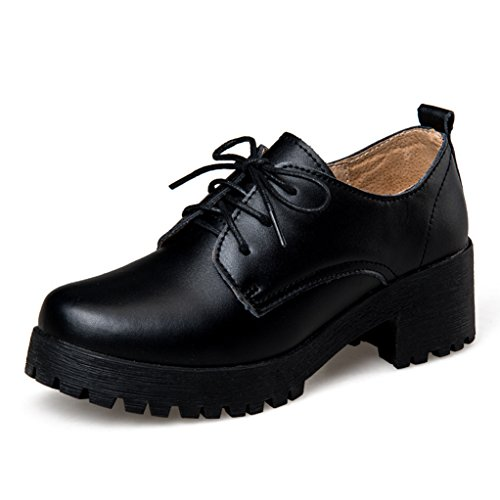 Clear Platform Sweet Shoes - GilesJones Loafers Flats Shoes for Women,British Lace-Up Thick Heel Platform Oxford Shoes
