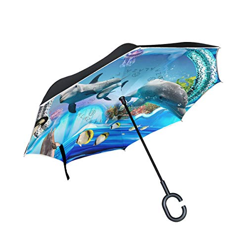 Double Layer Inverted Umbrella Cars Reverse Umbrella With C-Shaped Handle - 3D Cartoon Dolphins And Other Marine Life Sturdy Windproof And UV Protection Compact Travel Umbrella For Women Men (Alternative Stand Umbrella To)