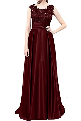Braut Brautmutterkleider mia Partykleider Linie Rock Abendkleider Burgundy langes Satin A Violett La Spitze S5w00f