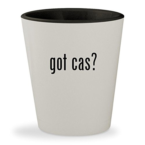 got cas? - White Outer & Black Inner Ceramic 1.5oz Shot - Glass Stockton Ca