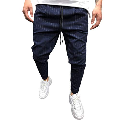 - Stoota 2019 Men's Casual Solid Loose Stripe Pocket Sweatpant Trousers Jogger Pant Blue