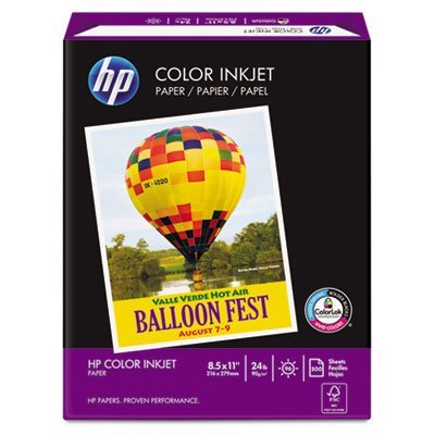 Color Inkjet Paper, 96 Brightness, 24lb, 8-1/2 x 11, White, 500 Sheets/Ream, Sold as 1 Ream, 500 per Ream by HP