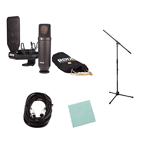 Rode NT1 Cardioid Condenser Microphone Bundle with Mic Stand, Mic Cable, SMR Shock Mount, Pop Filter, and Polishing Cloth