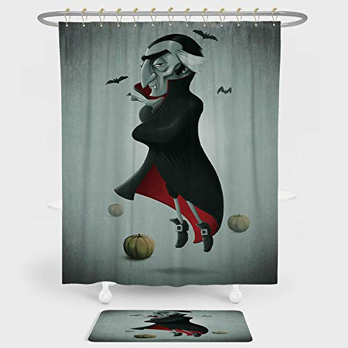 iPrint Vampire Shower Curtain And Floor Mat Combination Set Creepy Halloween Night Pumpkins and Old Vampire with Cape Flying Bats For decoration and daily use Black Almond Green Red ()