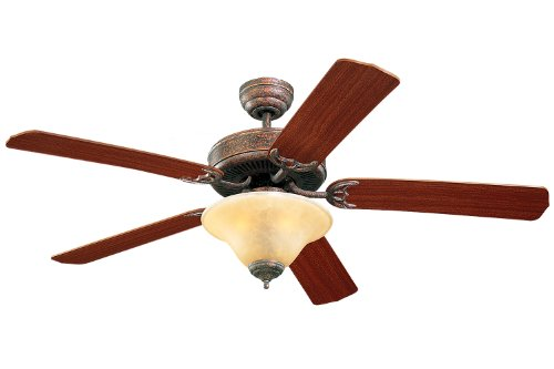 Monte Carlo 5HS52TBS Homeowner's Deluxe 52-Inch 5-Blade Ceiling Fan with Light Kit and Mahogany Blades, Tuscan Bronze