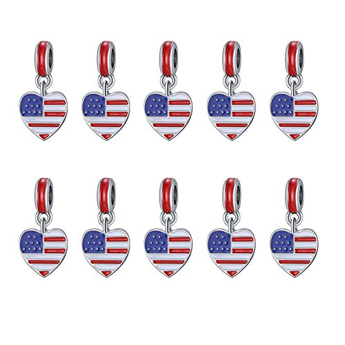 Mystart 10 Pieces Alloy American Flag Heart Shape Pendants Charms DIY Bracelet Accessories