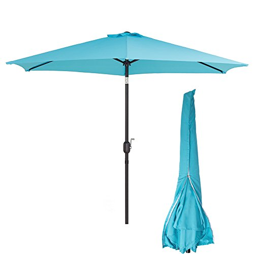 Sunnyline Outdoor Patio Table Umbrella 10FT,with Umbrella Cover Included,Large Round Sunshade with Push Button Tilt and Crank Blue