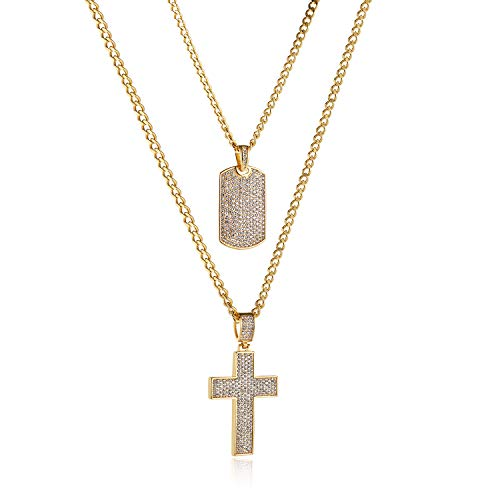 HZMAN Mens Two Piece Gold Cross & Iced Out Dog Tag Cz Inlay Pendant Necklace Hip Hop 22