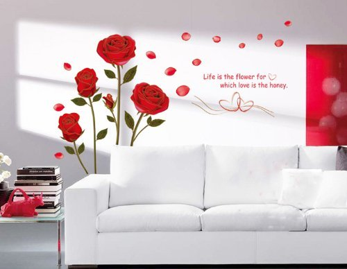 Sunward Romantic Red Rose Flowers Wall Decals Living Room Bedroom Removable Wall Stickers Mural (Wall Sticker Removable)