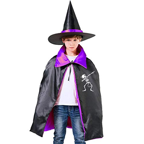 Kids Dab Dabbing Skeleton Devil Halloween Costume Cloak for Children Girls Boys Cloak and Witch Wizard Hat for Boys Girls Purple -