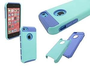 IPHONE 5C SHOCKPROOF CASE, Hard + Soft Rugged Rubber Matte Shockproof Dustproof Dirt proof Hybrid Defender Protector Case for iPhone 5C (MINT/PURPLE)