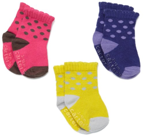Carter's Hosiery Baby-girls Newborn 3 Pack Dot Comp Socks