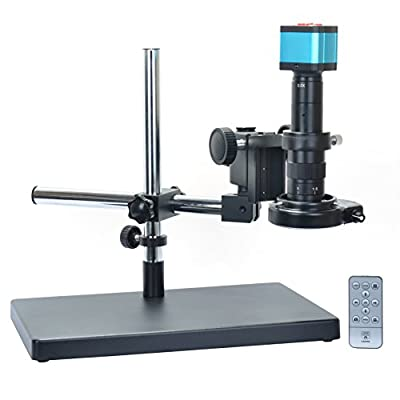 14MP HDMI Microscope Camera Kit For Industry Lab PCB USB Output TF Card Video Recorder +180X C-mount Lens + Big Stereo Stand +144 LED Light