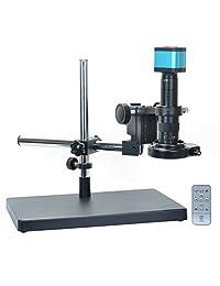 14 MP HDMI Microscopio Kit para cámara para la industria Lab PCB Tarjeta de TF de salida usb Grabador de vídeo + 180 x C Mount Lens + Big estéreo Soporte + 144 Luz LED