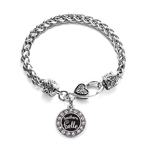 Inspired Silver - Southern Belle Braided Bracelet for Women - Silver Circle Charm Bracelet with Cubic Zirconia Jewelry
