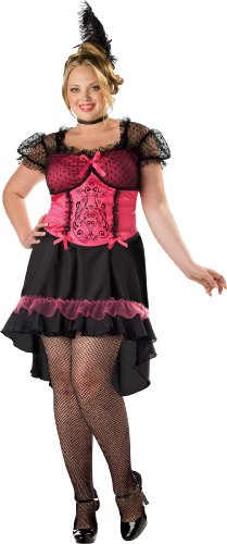 [InCharacter Costumes Women's Plus Size Saloon Gal 2B Adult Costume, Black/Pink, XXX-Large] (Saloon Gal Costumes)
