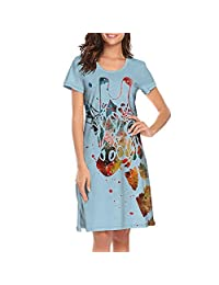 TEedhkf3 Women's Nightgown Love Giraffe Round Collar Design Short Sleeve Night Shirts