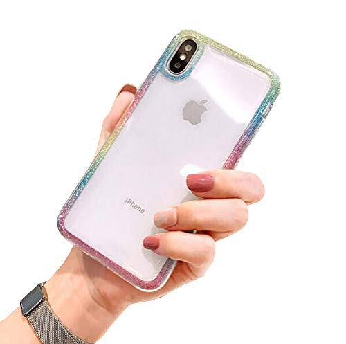 iPhone Xs Max Case, Glitter Bling Bumper Dual Layer Shockproof Slim Thin Clear Case for Girls Women Soft TPU Outer Cover + Hard PC Inner Protective Cover for iPhone Xs Max 6.5
