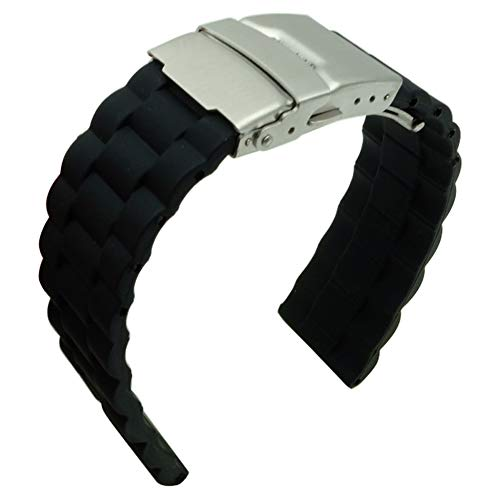 22mm Black Silicone Watch Band Rubber Replacement President Shape Watch Strap with Silver Deployment Clasp