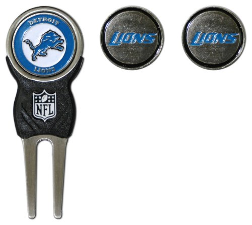 Team Golf NFL Detroit Lions Divot Tool with 3 Golf Ball Markers Pack, Markers are Removable Magnetic Double-Sided Enamel