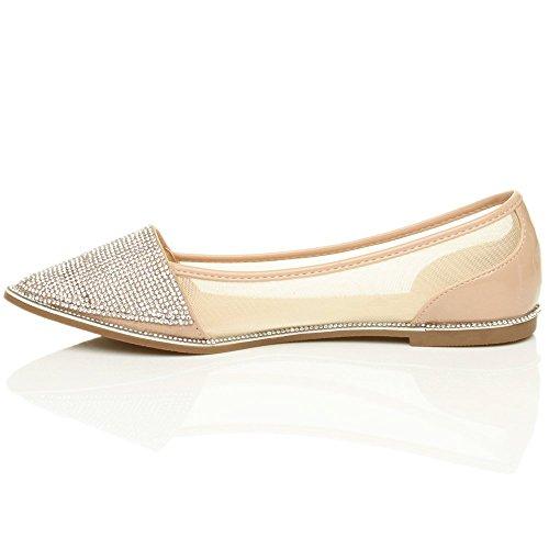 scarpette strass taglia punta piatto Donna ballerine bordo tulle scarpe Ecr a fwU8KqRI