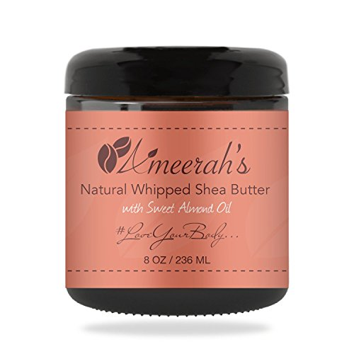 Natural Whipped Shea Body Butter & Sweet Almond Oil | Body Moisturizer Cream - Unscented - 8 - Whipped Unscented Shea Butter
