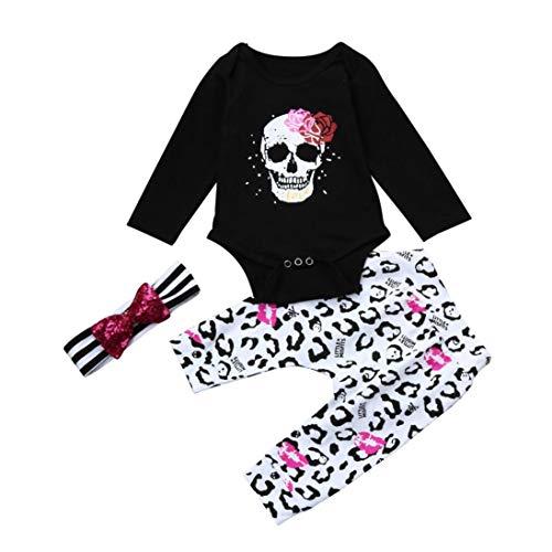 Hunzed Halloween 3Pcs Outfits Clothes Set, Newborn Infant Baby Girl Skull Floral Romper Tops+Pants (12M, Black )