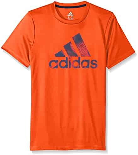 adidas Big Boys' Short Sleeve Logo Tee Shirt, Red, Small