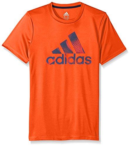 adidas Little Boys' Short Sleeve Logo Tee Shirt, Red, 5