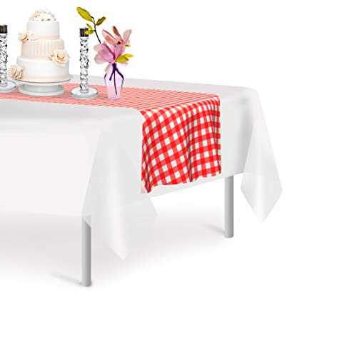 Red Gingham 12 Pack Checkered Premium Disposable Plastic Table Runner 14 x 108 Inch. Decorative Table Runner for Dinner Parties & Events, Decor By Grandipity