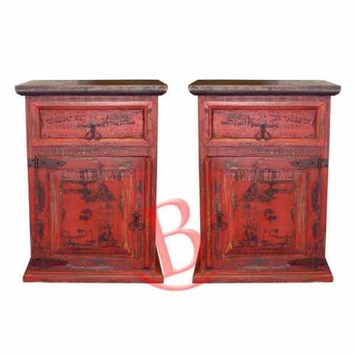 Western Wood Furniture - Two Rustic Red Rubbed Nightstands or Phone Chests Western Style Solid Wood