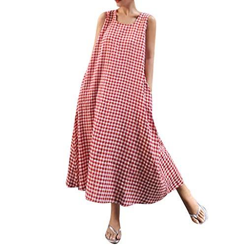 Women Dresses for Work,Women Lady's Sleeveless Big Code Loose Linen Plaid Printed Long Dress,Women's Plus Dresses,Red,M