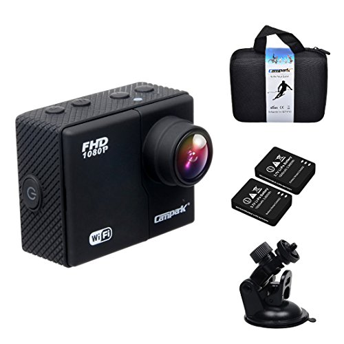 Campark 1080p 60fps Wifi Extreme Sports Action Camera Waterproof,16MP,1296P,Ambarella A7l,50M Underwater, Time Lapse,G Sensor,2pcs Batteries Included (NO CHARGER,NO REMOTE CONTROL)