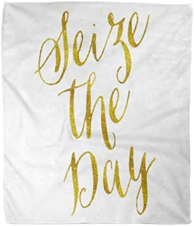 """Throw Blanket Faux Seize The Day Carpe Diem Gold Inspirational Motivational 50x60 Inches Warm Fuzzy Soft Blanket For Bed Sofa 50"""" X 60"""" 120X150"""