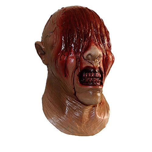 Latex Zombie Bloody Mask Scary See No Evil Full Head with Chest Mask Devil Costumes Fancy Dress Up Props ()