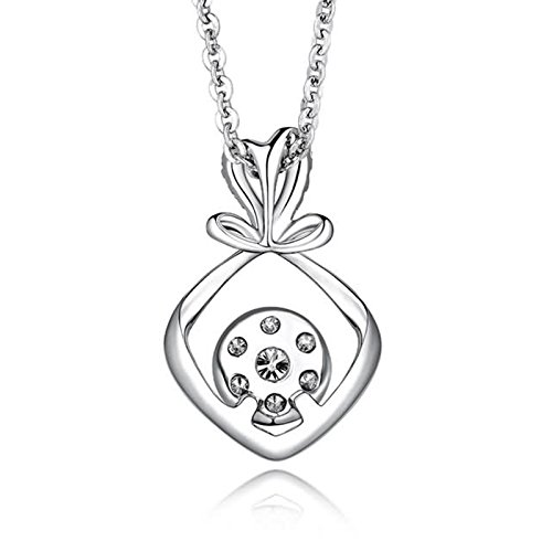 Beydodo Women Necklace,18k Real White Gold 0.98g Love Knot Pendant Round Brilliant Diamond Necklace by  (Image #2)