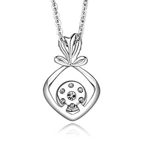 Adisaer 18k(750) White Gold Women Necklace 0.98g Love Knot Pendant Round Diamond Wedding Necklace by Adisaer (Image #1)