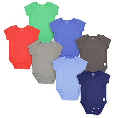 12 Month Fruit - Fruit of the Loom Baby 7-Pack Short-Sleeve Grow & Fit Bodysuits - Unisex, Girls, Boys (6-12 Months, Blue, Multi)