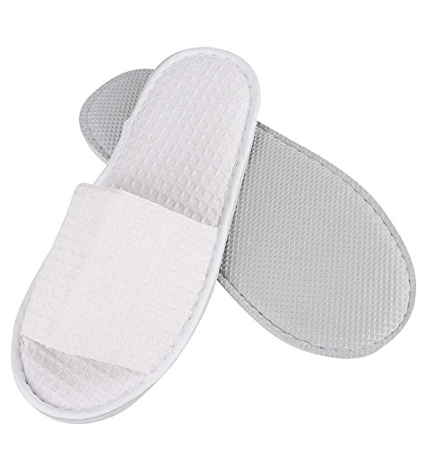 Non-Disposable Travel Slippers Portable Open Toe Waffle Sandals Cotton Spa Hotel Slippers Guest Room Indoor House Slippers Flight Slippers Anti-Skid Camping Slippers Shoes Footwear (Toe Waffle)