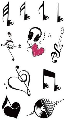 lijinjin Tatuajes Temporales Pegatina Música Nota Amor Guitarra ...