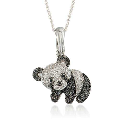 - Ross-Simons Black and White Diamond Accent Panda Bear Pendant Necklace in Sterling Silver